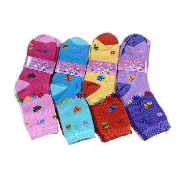 3pr Girl's Quarter Socks 6-8 [Butterfly]
